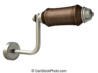 Crank Handle - A plain view of a vintage wood and iron crank...