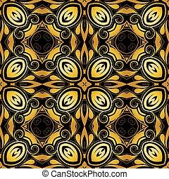 Golden ornamental background on black