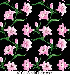 seamless pattern with white lily flowers