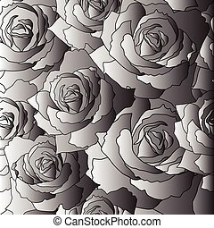 Seamless vector pattern of the stylised roses