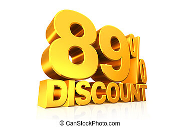 3D render gold text 89 percent discount. - 3D render gold...
