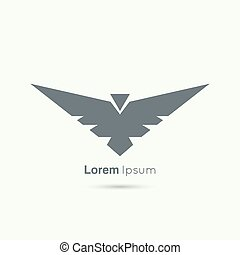 Abstract vector logo design template. Flying bird with...