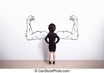 strong business woman - Back view of business woman with...