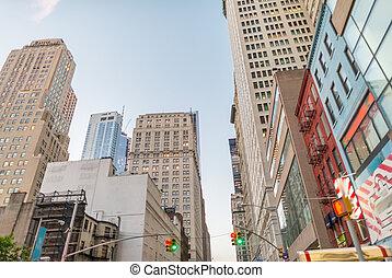 ville, Gratte-ciel, rue,  York, nouveau,  Manhattan, vue