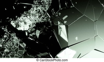 glass shattered and destructed with slow motion on black