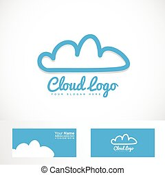 Blue cloud hosting logo - Vector logo element template of...