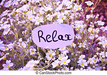 Outdoor greeting card with text - relax