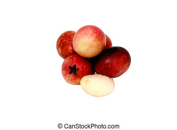 Crimson fruits or Carissa macrocarpa on white background