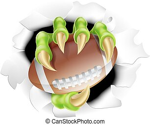 Football Claw concept of a monster claw breaking out of the...