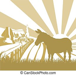 Farm donkey rolling fields - An illustration of a farm house...