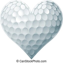 Golf Ball Heart concept of a heart shaped golf ball...