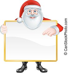 Cartoon Santa Sign - Christmas cartoon illustration of Santa...