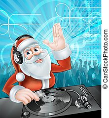 DJ Santa Claus - Cartoon Christmas Santa Claus DJ with...
