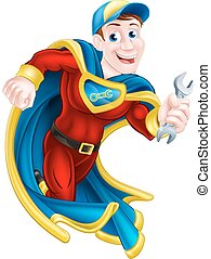 Superhero Holding Spanner - Illustration of a cartoon...