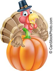 Thanksgiving Turkey and Pumpkin - Cartoon thanksgiving...