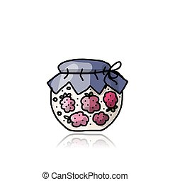 Jar with raspberry jam, sketch for your design
