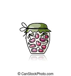 Jar with cherry jam, sketch for your design