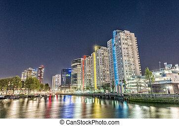 Rotterdam, Netherlands. Beautiful modern city skyline at...