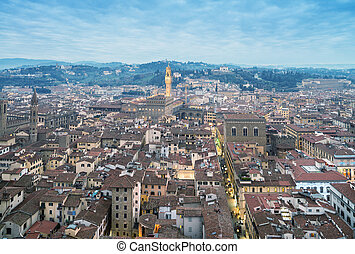 Wonderful view of Florence at sunset times. Aerial view from...