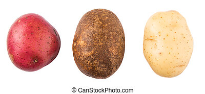 Red, Brown, Yellow Potatoes - Red, brown, yellow potatoes on...