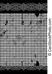 Houndstooth, pied de poule seamless black and white vector pattern