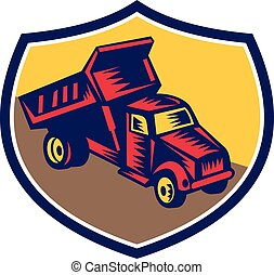 DumpTruck Shield Woodcut