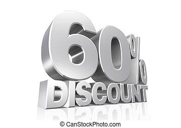 3D render silver text 60 percent discount.