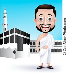 Man Characters for Hajj or Umrah - Realistic Muslim Man...