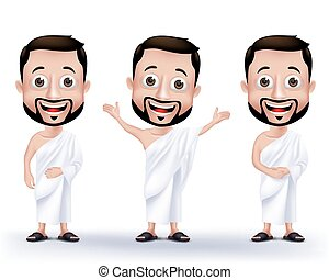 Man Characters for Hajj or Umrah - Set of Realistic Muslim...
