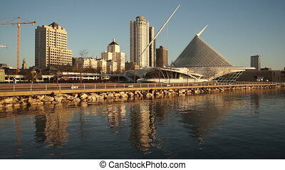 Milwaukee Wisconsin Waterfront Urban City Skyline Lake...