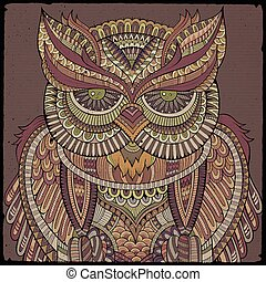 Decorative ornamental Owl. Vector illustration