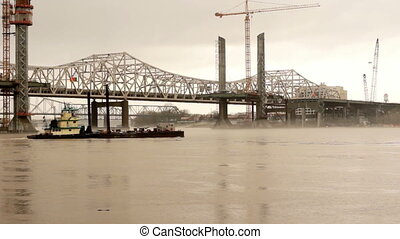 Boats and Cranes Constructing Bridge Ohio River Louisville -...