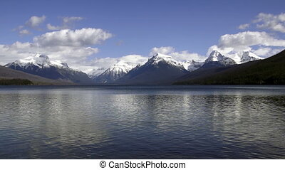 Static Shot Lake McDonald Water Shimmering Fast Glacier...