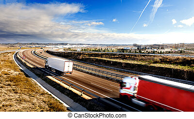 Trucks and highway. - International forwarding.Trucks...