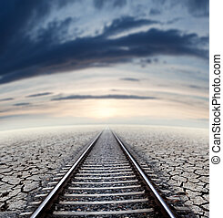 Travel concept and railway.Sunset dreamscape