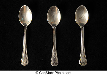 Vintage Silver Flatware - Ancient Vintage Silver Flatware on...