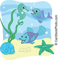 Sea world - Vector Illustration of the sea depth