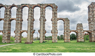 Front view of Aqueduct of the Miracles in Merida - Aqueduct...