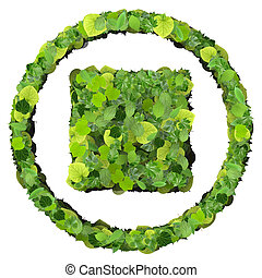 Media control stop icon, made from green leaves isolated on...