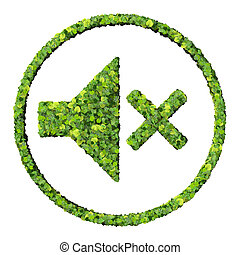 Media control volume mute icon, made from green leaves...