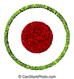 Media control red record icon, made from green leaves...