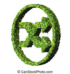 Media control shuffle icon, made from green leaves isolated...