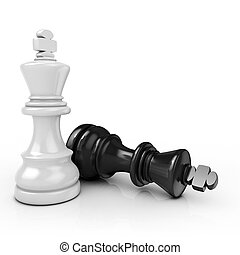 White king chess mate, on white background