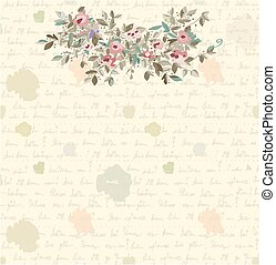 Retro letter background with flowers and text on the paper