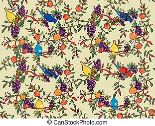 Wine seamless pattern with bottles, vines