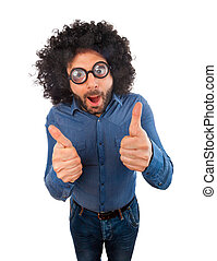 Man with crazy expression and thumb up on white background.