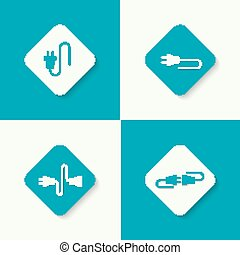 Set icons with wire plug and socket.