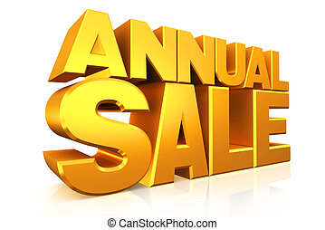 3D gold text annual sale.
