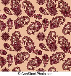Vector Seamless Paisley Pattern in red