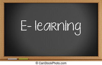 E- learning written on blackboard.